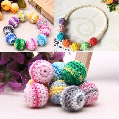 10pcs Wooden Crochet Round Beads For Baby Teething Jewelry Making Handmade 20mm