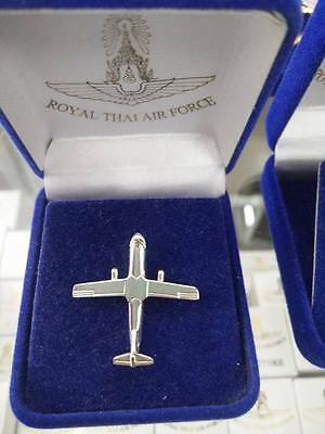 Military Airplane Aviation Thai Air Force Tie Pin Silver Color In Velvet Box