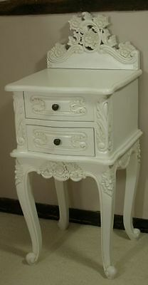 Two Solid Mahogany French Rococo Style Antique White Bedside Chests Pair