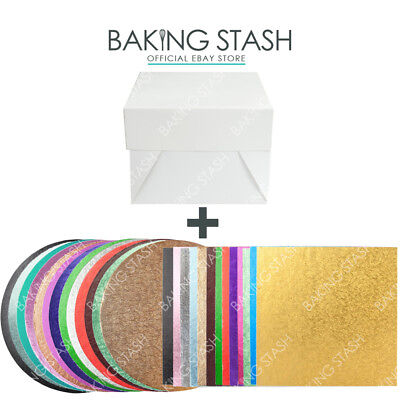 Round and Square Cake Board / Drum with Box and Lid - All Colours and Sizes