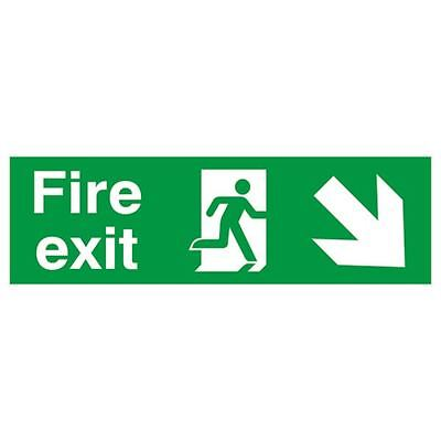 Safety Sign Fire Exit Running Man Arrow Down/Right 150x450mm PVC  [SR11132]