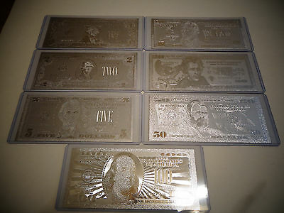 Lot Of 7*: Silver Bills $1-2-5-10-20-50-100 Dollar Set& Each In Hard Bill Holder