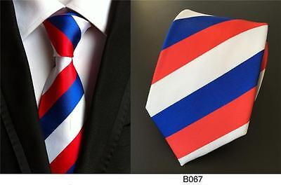 Stripe Tie Red White Blue Patterned Handmade 100% Silk Wedding Mens Necktie 8cm