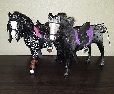 Grand Champion Horse C/M Appaloosa Custom Mare Set w/Tack Lot of 2 DISPLAY ONLY