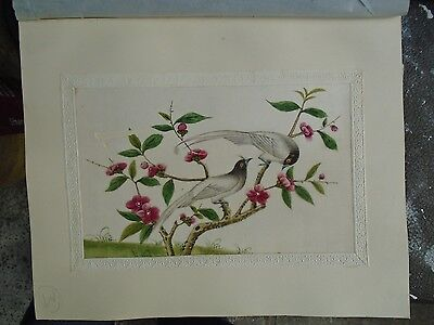 Antique Watercolour Chinese Rice Paper Floral and Birds. Circa 1830's.