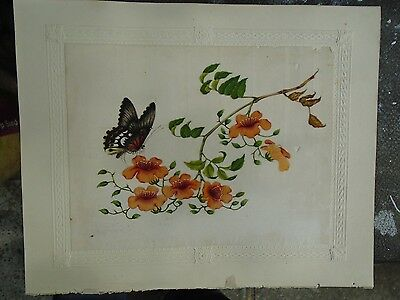 Antique Watercolour Chinese Rice Paper Floral . Circa 1830's.