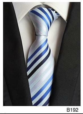Blue, Black and White Stripe Patterned Handmade 100% Silk Wedding Tie