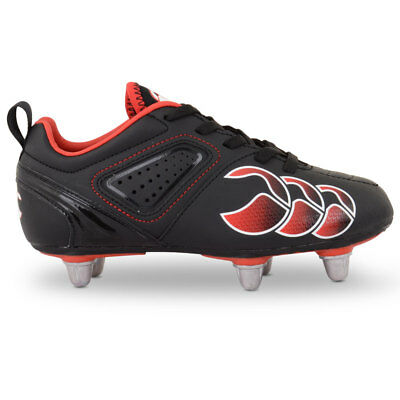 Canterbury CCC Phoenix Club Junior 6 Stud Rugby Boots -  Black Red Molten Lava