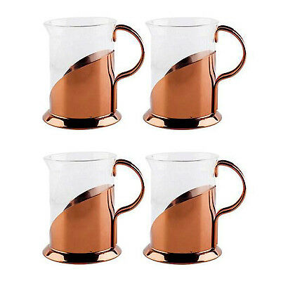 La Cafetiere Roma Set of 4 Small 200 ml Glass and Copper Coffee or Tea Cups