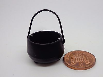 1:12 Black Medieval Metal Cauldron Dolls House Miniature Tudor Witch Accessory