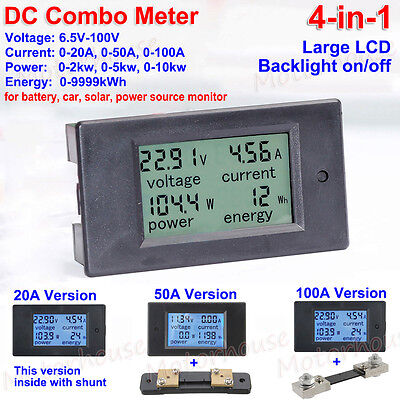 LCD DC Battery 6.5-100V 20A 50A 100A Voltage Current KWh Watt Power Combo Meter