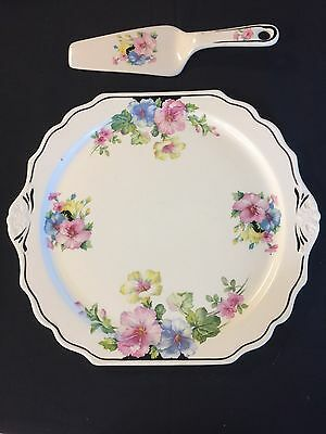 Harker Pottery Floral Cake Plate And  Knife