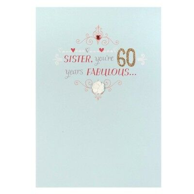SISTER Youre 60 Years FABULOUS Very LOVELY Beautiful Happy 60th Birthday Card