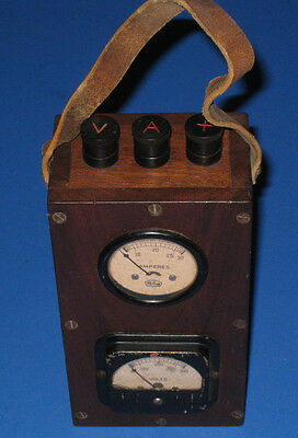 Vintage Sterling Dual Volt Meter AC W/ Wooden box-Steampunk