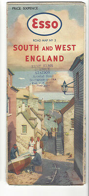 South And West England - Vintage Esso Road Map No 3 / Stanford 1950s - Antique