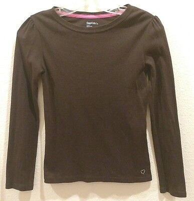 GAP KIDS Size 10 (Large)  Brown with Rhinestone Heart Girl's Long Sleeve Top