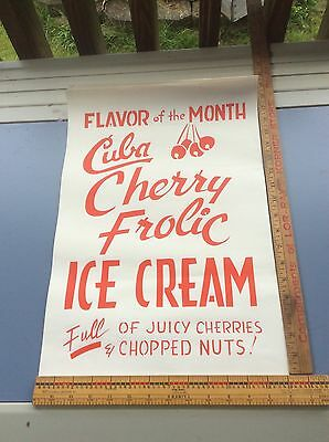 Vintage Grocery Store Paper Advertising, Cuba Cherry Frolic Ice Cream, 19 X 11