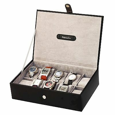 Mele and Co Black Bonded Leather Mens Ten Watch Box MC1501