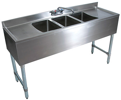 "Stainless Steel 3 Compartment Underbar Sink 60"" with 2 Drainboards"