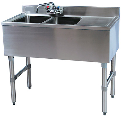 "Stainless Steel 2 Compartment Bar Sink 36"" with Right Drainboard"
