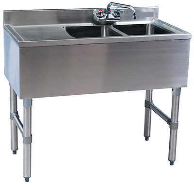 "Stainless Steel 2 Compartment Bar Sink 36"" with Left Drainboard"