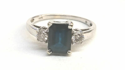 Sapphire 1.50 CT and Diamond 14kt White Gold Ring Size 8