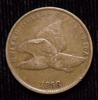 1858 Flying Eagle Cent  Small Letter  VF
