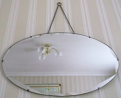 VINTAGE c1930s ART DECO OVAL FRAMELESS BEVELLED EDGE WALL HALL MIRROR CHAIN
