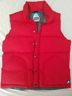 Vintage Sierra Designs Red Goose Down Puffer Vest Size Small