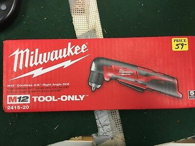 "Milwaukee 2415-20 M12 Cordless Lithium-Ion 3/8"" RightAngle Drill/Driver ToolOnly"