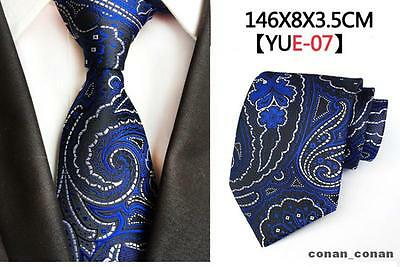 Blue, Black and White Patterned Handmade 100% Silk Tie