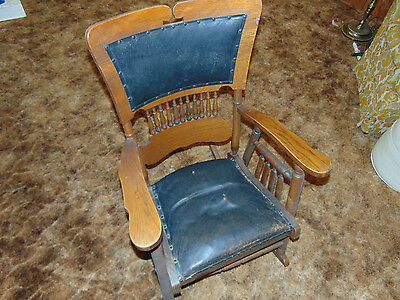 Antique Wooden and Leather Rocking Chair - Early 1900s