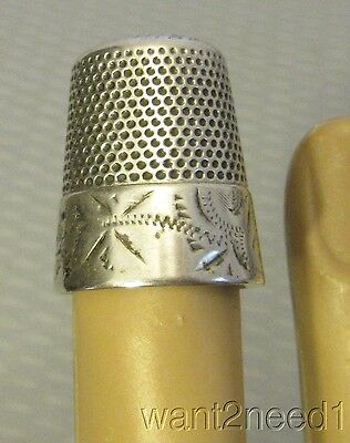 Antique Victorian STERLING SILVER THIMBLE fine etched stamped band