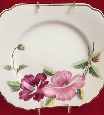 """8"""" Square Merit Salad Plate Pink and Maroon Flowers Made in Occupied Japan"""