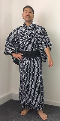 Authentic Japanese navy blue cotton summer yukata for men, large, good c.(K1563)