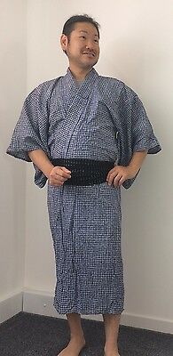 Authentic Japanese navy blue cotton summer yukata for men, S, poor c. (K1564)