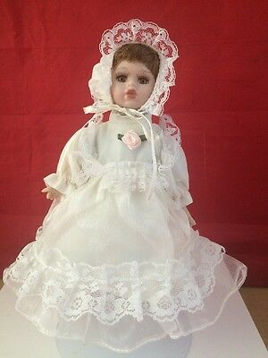 Porcelain and Cloth Girl Doll  6 3/4''
