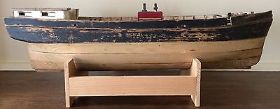Vtg Nautical Folk Art Handmade Model Wood Whaling Ship - New England - W/ Stand