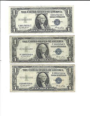 3 - $1 Series 1935 E Silver Certificate Dollars Blue Seals