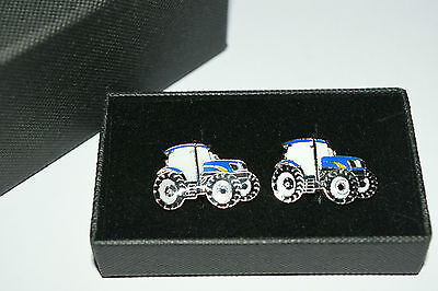 New Holland/Ford Blue Tractor Cufflinks Wedding Party Farming Gift Boxed Enamel