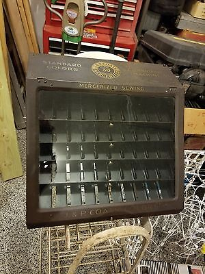 Antique J. & P. Coats Boilfast Thread Spool Cabinet Store Advertising Metal