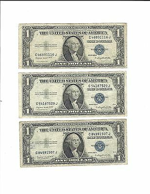 3 - $1 Series 1935 G Silver Certificate Dollars Blue Seals