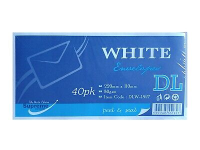 Pack of 50 DL Envelopes Peel And Seal White Strong Paper 110 x 220mm 100gsm
