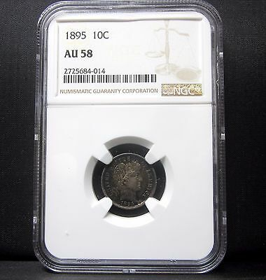 1895-P Barber Dime ✪ Ngc Au-58 ✪ Almost Uncirculated L@@k 10C Silver ◢Trusted◣