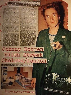 1 german clipping JOHNNY ROTTEN SEX PISTOLS HOME STORY PUNK BOY BAND BOYS GROUP