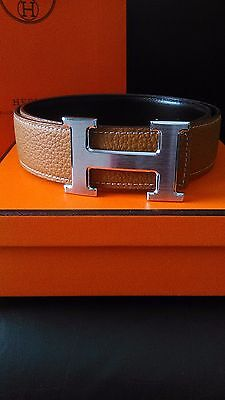 Brown Men's Leather (reverse) brown/black hermes belt 90cm