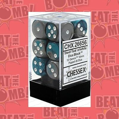 D6 Dice Gemini 16mm Steel-teal/white (12 Dice In Display)  - BRAND NEW