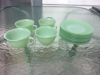 Four Fire-King Jadeite Jane Ray Pattern Oven Ware Cups & Nine Jane Ray Saucers