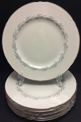 Elegant Lichfield Shelley Grey Mist England Fine Bone China Dinner Plate Silver