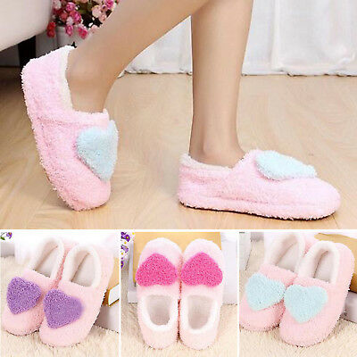 Winter Women Girls Fleece Warm Heart Soft Antiskid Indoor Home Slippers Shoes